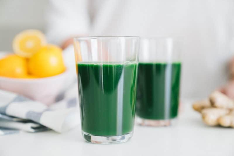 Spirulina Meyer Lemon Green Juice via Healthfully Ever After