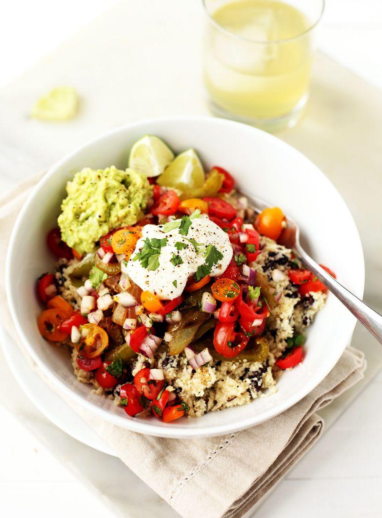 Vegetable Burrito Bowls with Cauliflower Rice & Sunflower Sour Cream via Blissful Basil