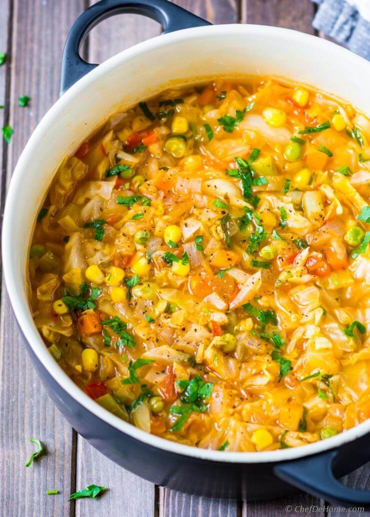 Vegetarian Cabbage Soup via Chef De Home