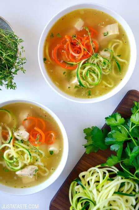 Zucchini Noodle Chicken Soup via Just a Taste