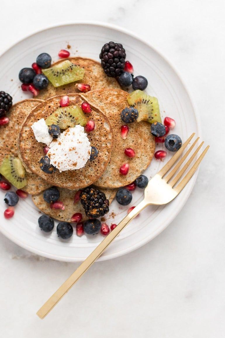 Healthy Three-Ingredient Blender Pancakes via Honestly Nourished