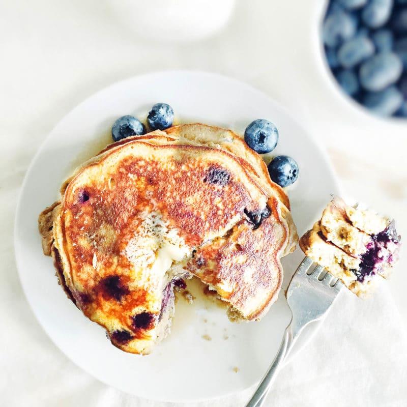 Fluffy Coconut Flour Blueberry Pancakes via Simply Taylor