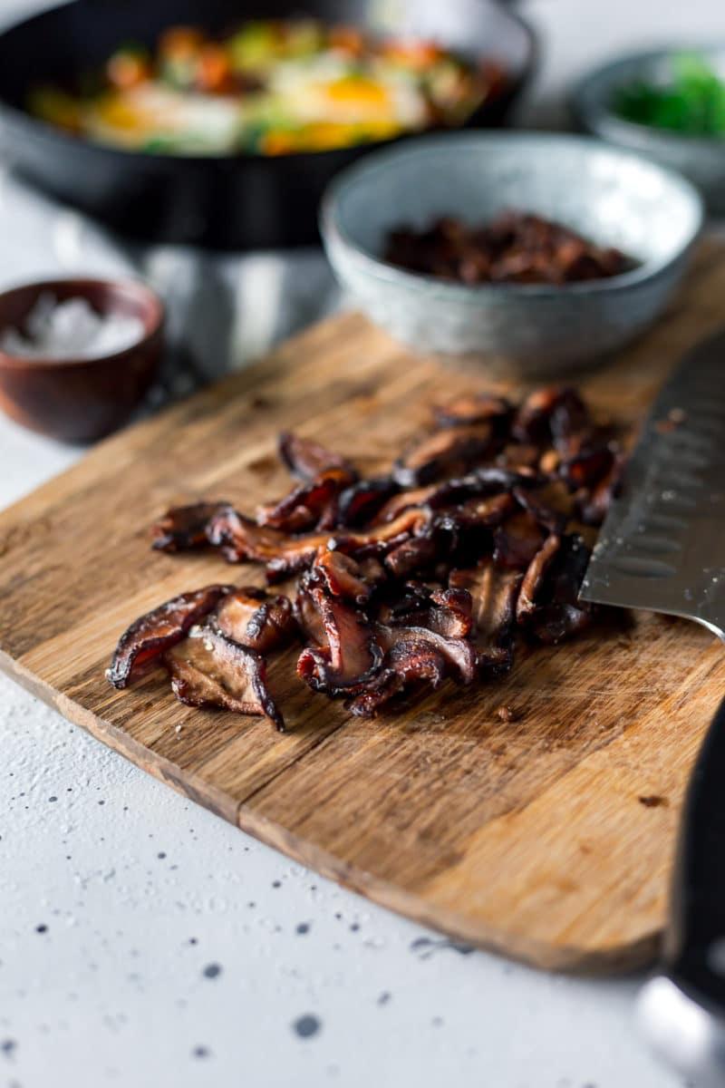 shiitake mushroom bacon on a cutting board