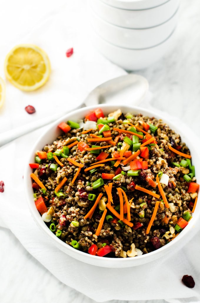 Lentil Salad with Quinoa and Maple-Balsamic Vinaigrette via Wendy Polisi