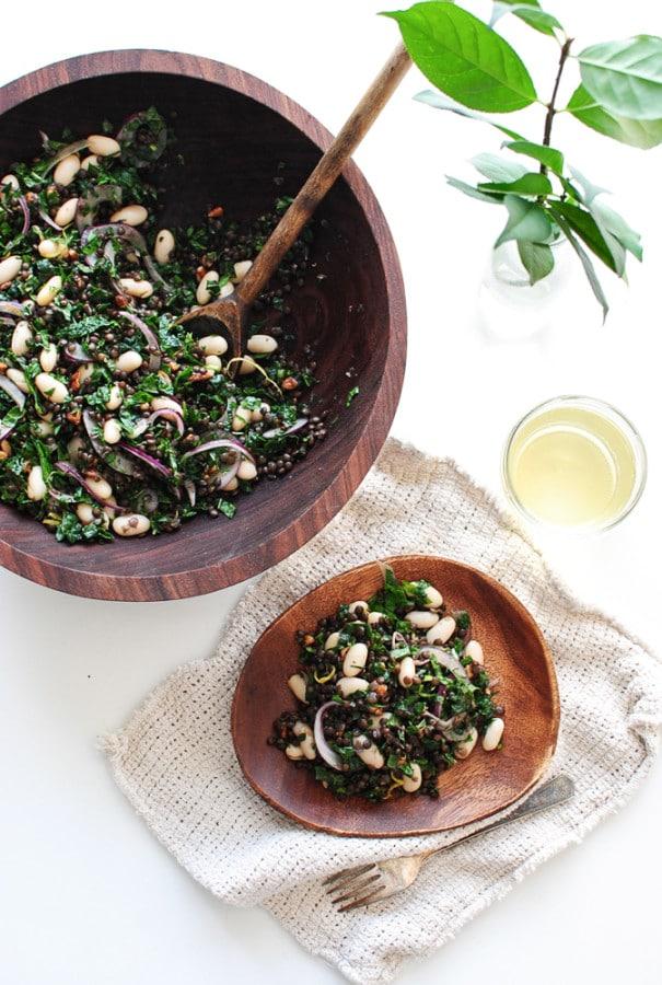 Lentil, Kale, and White Bean Salad via Bev Cooks