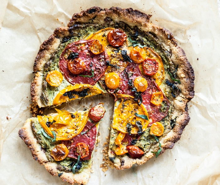 Heirloom Tomato Pie with Almond Flour Crust via Dishing up the Dirt