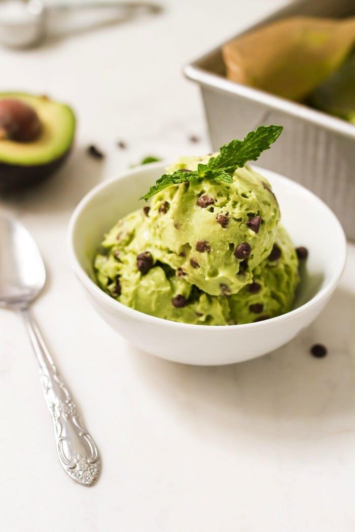 Mint Chocolate Avocado Ice Cream via Eating Bird Food